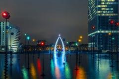 Multicolored fountain in the Esplanade De La Royalty Free Stock Images