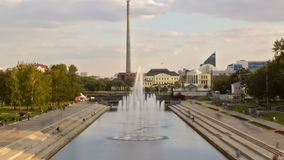 Multicolored fountain at sunset. Yekaterinburg, Ru Royalty Free Stock Photos