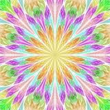Multicolored fractal bloem in de stijl van het gebrandschilderd glasvenster U c Royalty-vrije Stock Foto's