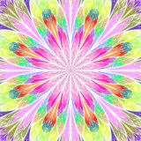 Multicolored fractal flower in stained glass window style. You c. An use it for invitations, notebook covers, phone case, postcards, cards, wallpapers and so on Royalty Free Stock Images