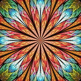 Multicolored fractal flower in stained glass window style. You c Stock Images