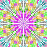 Multicolored fractal flower in stained glass window style. You c. An use it for invitations, notebook covers, phone case, postcards, cards, wallpapers and so on Royalty Free Stock Photos