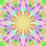 Multicolored fractal flower in stained glass window style. You c Royalty Free Stock Photos
