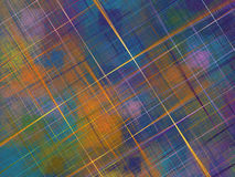Multicolored fractal with squares and crossed lines ove Stock Photo