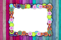 Multicolored Frame On Pink And Blue Background Stock Image