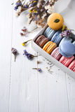 Multicolored french macaroons royalty free stock images