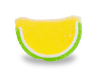 Multicolored fruit jelly as citrus slices isolated Royalty Free Stock Photos
