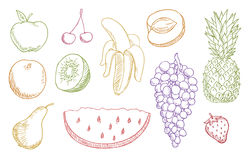 Multicolored fruits set Royalty Free Stock Photos