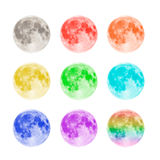 Multicolored full moons isolated on white background Royalty Free Stock Photo
