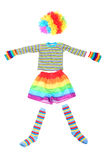 Multicolored funny clown dress isolated on white Royalty Free Stock Photography