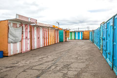 Multicolored garages in the industrial area Royalty Free Stock Photo