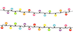 Multicolored Garland Lamp Bulbs Festive on White Background Vect. Or Illustration EPS10 Royalty Free Stock Images
