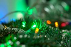 Christmas garland on Christmas tree stock photography