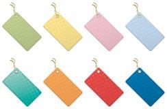 Multicolored geïsoleerdeo prijsetiketten Stock Foto's