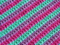 Multicolored gehaakt canvas knitting royalty-vrije stock afbeeldingen