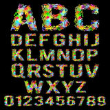 Multicolored geometric polygonal broken alphabet Stock Photography