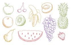 Multicolored geplaatste vruchten Royalty-vrije Stock Foto's
