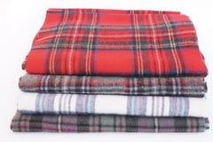 Multicolored Geruit Schots wollen stofsjaals Stock Foto's