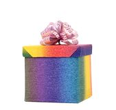 Multicolored gift box with ribbon. Stock Image