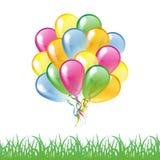 Multicolored glanzende die ballons met grassilhouet op a wordt geïsoleerd Royalty-vrije Stock Foto's