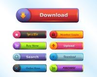 Multicolored Glanzende Vector de Knoopreeks van Webelementen Stock Illustratie