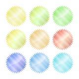 Multicolored glanzende vectorstickers vector illustratie