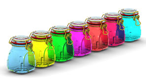 Multicolored glass jars for canning Stock Photos