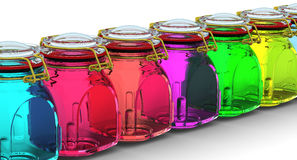 Multicolored glass jars for canning. In row on a white surface. With locked lid. . 3D Illustration Royalty Free Stock Photos