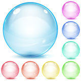 Multicolored glass spheres. Set of multicolored glass spheres with shadows on white background Stock Images