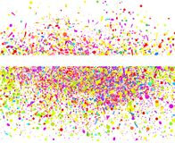 Art creative. Illustration. Multicolored glitters on white. Geometrical background with confetti. Pattern for design. Print for polygraphy, posters, banners and vector illustration