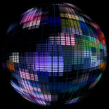Multicolored globe silhouette in darkness.Global communication c Royalty Free Stock Photography