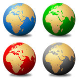 Multicolored Globes. An illustrated set of multicolored globes in four different colors, isolated on white background Royalty Free Stock Image