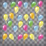 Multicolored glossy balloons isolated on chequered background Royalty Free Stock Photography