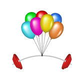 Multicolored glossy balloons lifting a heavy barbe Royalty Free Stock Photo