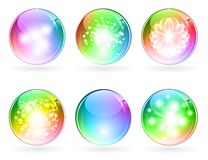 Multicolored glossy balls. Set of abstract bright rainbow multicolored glossy balls stock illustration