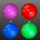 Multicolored Glossy Christmas Balls Isolated   Stock Photography