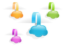 Multicolored glossy cloud tag labels Stock Photography