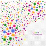 Bright festive 3d confetti with depth effect. Multicolored glossy flying balls for holiday design stock illustration