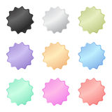 Multicolored glossy vector stickers in the shape of a circle with teeth pastel color metal Stock Images