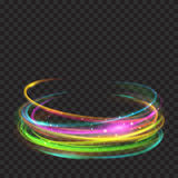 Multicolored glowing fire rings with glitters. Multicolored glowing fire rings with glitter on transparent background. Light effects. For used on dark Royalty Free Stock Images