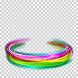 Multicolored glowing fire rings with glitters. Multicolored glowing fire rings with glitter on transparent background. Light effects. For used on light Royalty Free Stock Photography