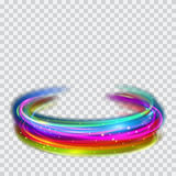 Multicolored glowing fire rings with glitters. Multicolored glowing fire rings with glitter on transparent background. Light effects. For used on light Stock Photography