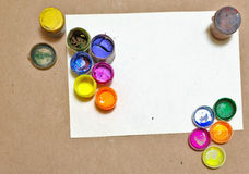 Multicolored gouache on a sheet of paper. Royalty Free Stock Images
