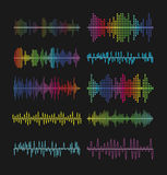 Multicolored graphic equalizer waves, soundtrack waveforms vector illustration. Music volume wave amplifier symbols Royalty Free Stock Photos