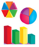 Multicolored graphs. Rounded polygonal rod circle the block Stock Photography