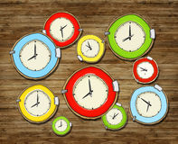 Multicolored Group of Clock  Royalty Free Stock Photo