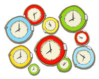 Multicolored Group of Clock Isolated Stock Photography