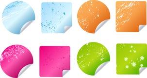 Multicolored grungy stickers, etiketten vector illustratie