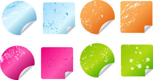 Multicolored grungy stickers, labels Stock Photos