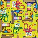 Multicolored gun toy seamless pattern Stock Photos